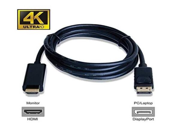 1.8 Meter Passive DisplayPort to HDMI Cable 4K / UltraHD / 1080p