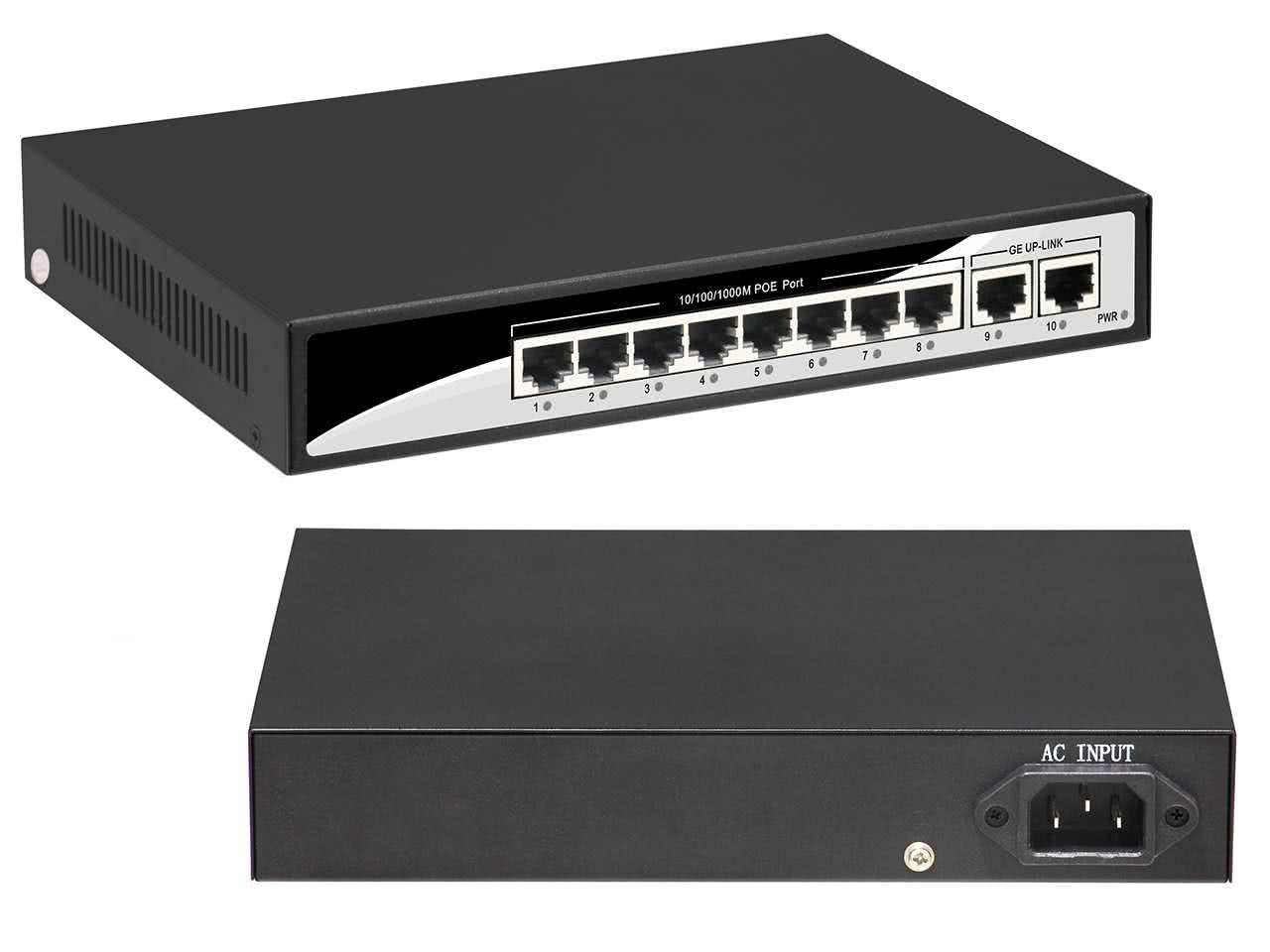 10 Port Power over Ethernet (POE) 1Gbps Gigabit Network Switch (8x POE, 2x Uplink) with Built-in 52V 2.88Amp PSU, 16W per Port Max, IEEE 802.3af/at
