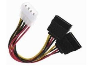 10cm Male Molex to 2 x Female Sata PC Power Splitter cable