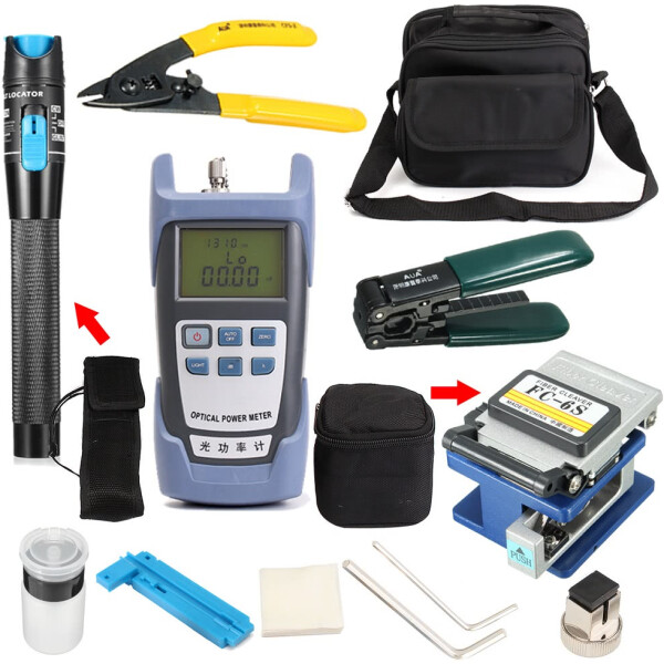 12-in-1 Professional Fiber Optic Tool Kit incl Precision Fiber Cleaver, Fiber Strippers, Fiber Tester