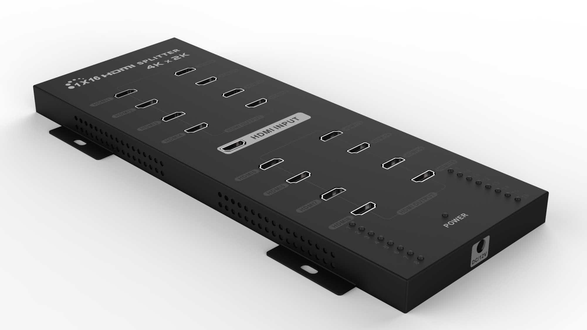 4K x 2K UltraHD (uHD) wall mountable HDMI 1x16 Splitter (16 outputs), 3D, HDMI v1.4 - Up to 3840 x 2160 Resolution