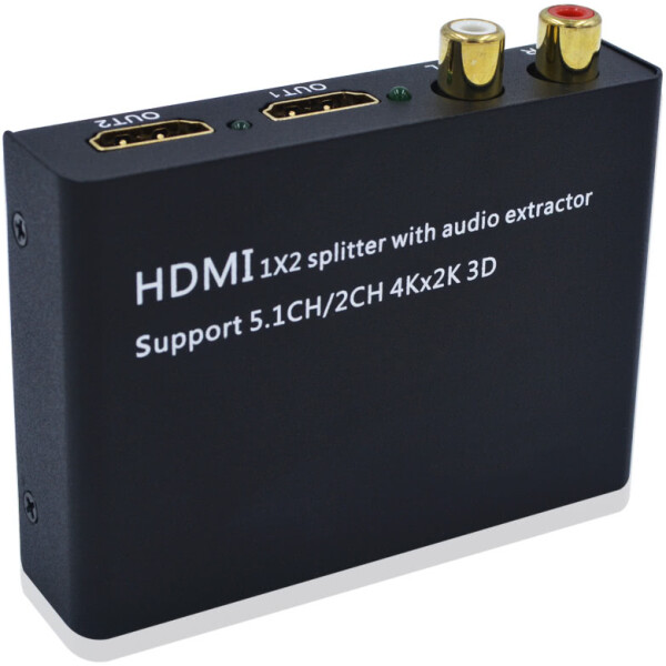 2 Port HDMI Splitter with Audio Decoder | HDMI Audio Extractor to Optical Audio | 4k Ultra HD