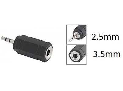 2.5mm Jack Male to 3.5mm Jack Female adapter