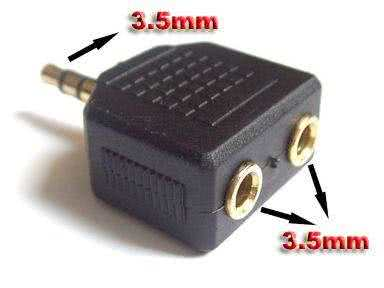 3.5mm Stereo Headphone Y Splitter Adapter for iPod / CD / MP3 Players / Stereo Source