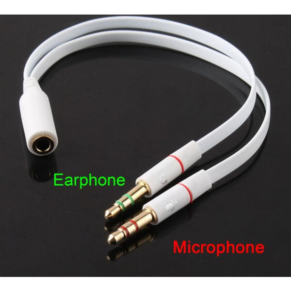 3.5mm Y Splitter Cable – Female 3.5mm Jack to 2 x Male for Headphones & Microphone Input Audio