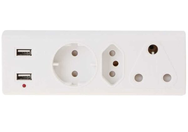 3 Way 220v Multiplug with Shuko, 3pin & 2pin Plug Adapter incl 2 x 5v,1A USB Charging Ports for Smartphones