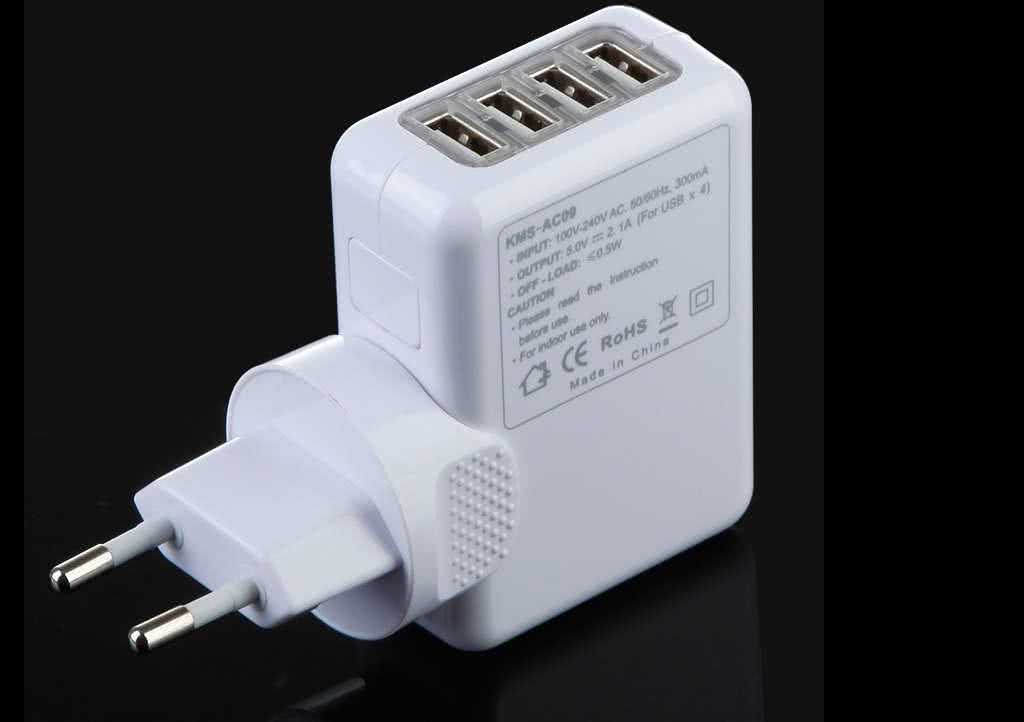 20 Watt Universal 4 Port USB 220 Volt Wall Socket Power Adapter / Charger for Smartphones / Tablets, Samsung, LG, Sony etc & Iphone 5 & 6, Ipad 1-4,mini