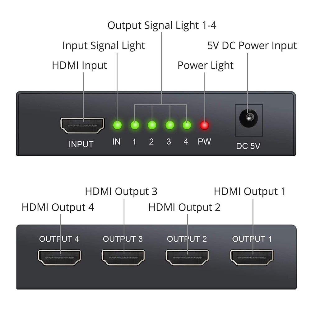 1x4 HDMI Splitter - 4K x 2K Ultra HD - 4 Ports Output