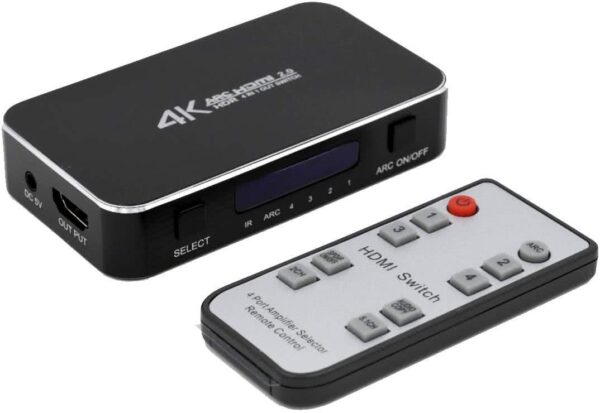 4×1 (4 input ports) 4k HDR HDMI Switch with Audio Extractor (Toslink & 3.5mm Audio Jack)