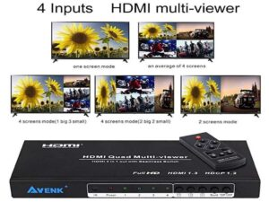 HDMI 4x1 Quad Multi-viewer with Seamless Switcher & IR Remote FullHD 1080p (1920 x 1080) - Up to 4 Sources on 1 display simultaneously)