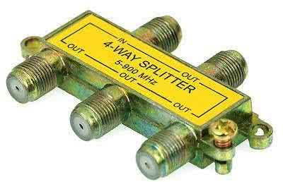 4 Way F-Splitter / RF Splitter With DC Power Pass