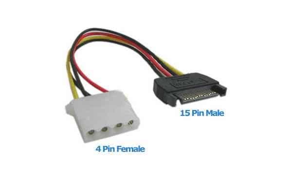 10cm Female Molex to 1 x Male Sata PC Power converter cable