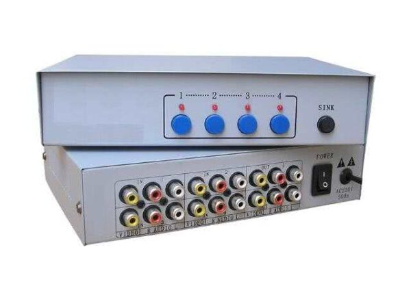 4x2 (4 inputs, 2 outputs) Composite / Yellow RCA Switch / Splitter Combo - AV Selector Switch / Splitter - Includes IR Remote