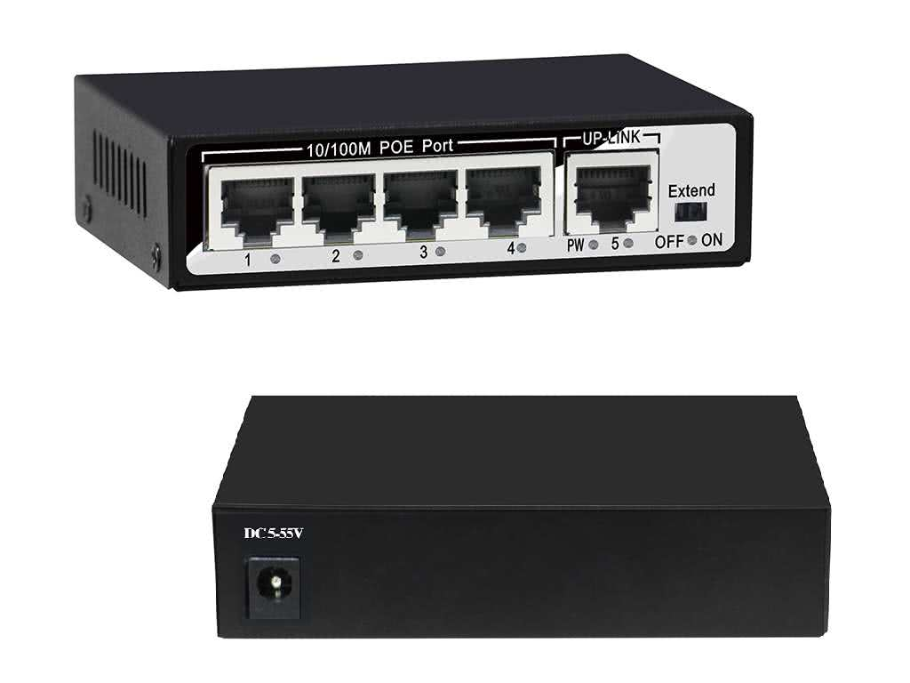 5 Port Power over Ethernet (POE) 100Mb/s Network Switch, incl 52V, 1A PSU, 13W per Port Max, IEEE 802.3af/at