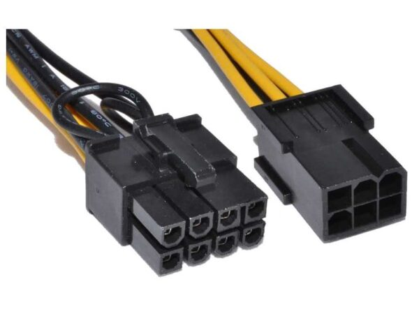 6-pin Female to 8-pin Male PC Graphics Card Power Cable adapter for new graphics card to older power supplies