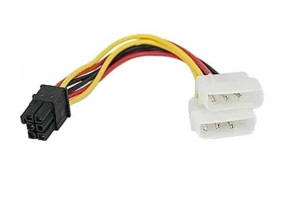 2 x Molex Power Connector to 6-pin Male PCIe (HDE PCI Express) PC - Graphics Card Adapter Power Cable to older power supplies
