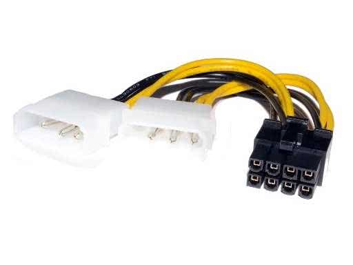 PCIE Black 8 pin to 2 x Molex Power Converter Cable - Graphics Card on