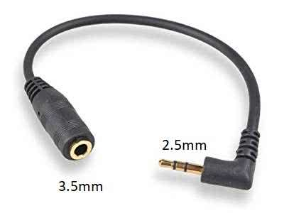 90 Degree 2.5mm Male to 3.5mm Female Adapter (Use 3.5mm Headsets or Aux Cable 3.5mm with 2.5mm device)