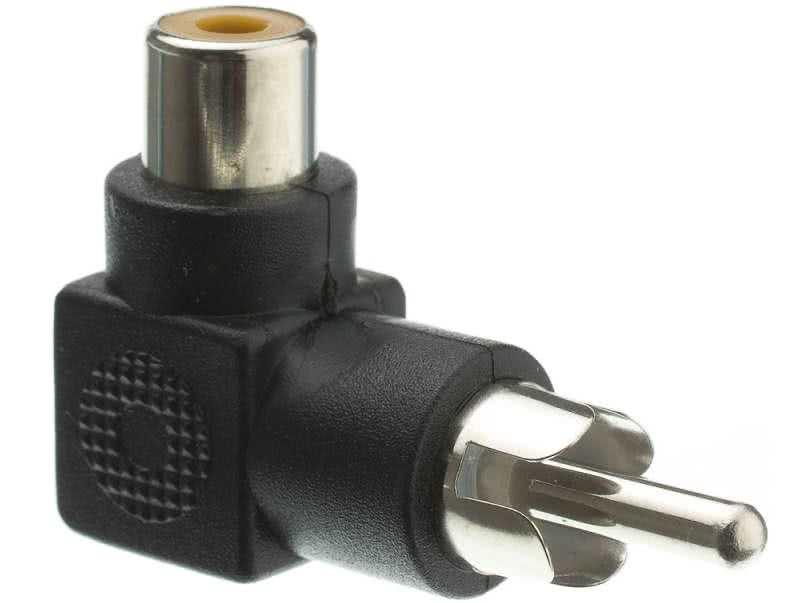 90 Degree Male RCA / AV to Female RCA / AV Adapter