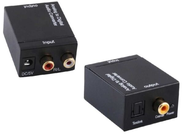 Analogue Stereo RCA Audio to Digital Audio - Coaxial or Optical Toslink Converter