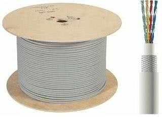 305 Meter Pure Copper STP CAT6 Ethernet Cable (shielded, solid core with braiding) up to 1Gb/s - Gray