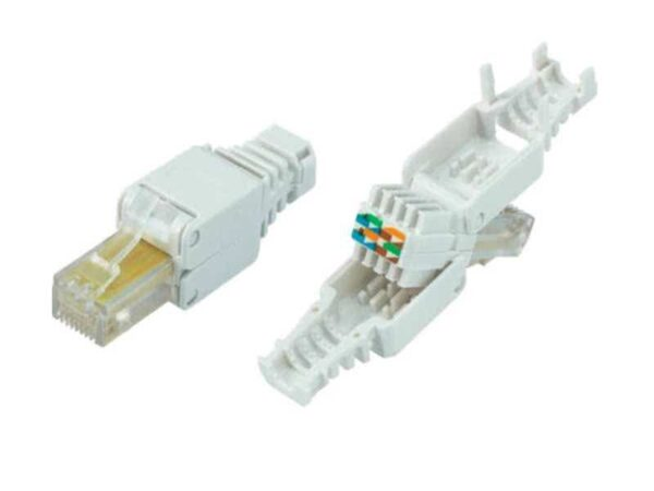 CAT7 Tool-Free Unshielded 22-26AWG Modular RJ45 Connector for extremely wide/thick conductor Networking Cables