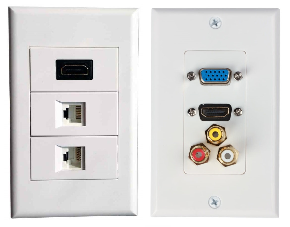 4x2 Wall Plate 70mm x 120mm with 3 Inserts / Modular Cover Plate - Single Electrical Plug Size