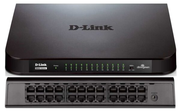 Dlink Unmanaged 24-Port (48Gbps total bandwidth) Gigabit Network Switch 10/100/1000 Mbit/s Full Duplex Auto-Sensing