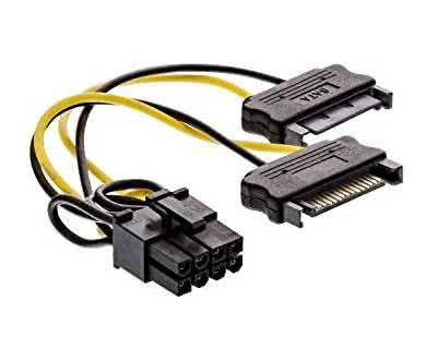 2 x Male SATA to 8-pin PCIE PC Power Converter Cable - Graphics Card Adapter Power Cable to older power supplies
