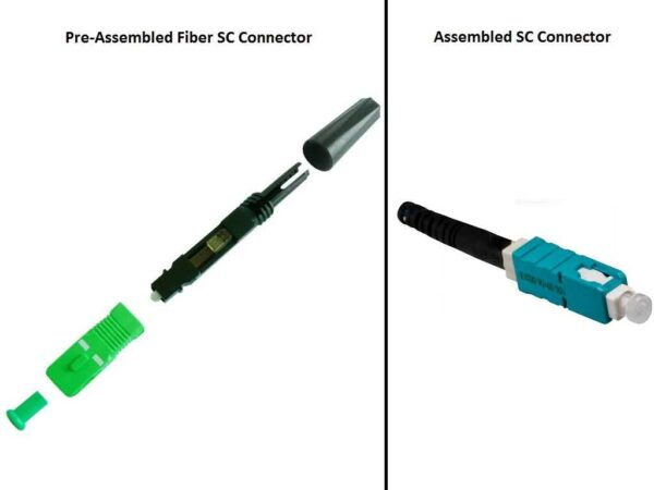 Fiber Optic SC Connector - Field Installable for 125 Micron Fiber Optic FFTH (Fiber-to-the-home), FTTP (Fiber-to-the-premises) or HDMI over Fiber Extenders