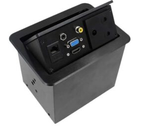 Gas Popup Panel with 3pin SA Electrical Plug for HDMI, VGA, Audio, Composite, AC Power & RJ45 Networking - with South African 3 Way plug (Hidden Conference HDMI Socket)