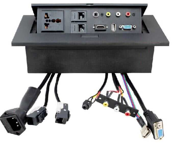 Gas Popup Panel with 2pin Electrical plug for HDMI, VGA, Audio, Composite, USB, AC Power & RJ45 Networking (Hidden Conference HDMI Socket)