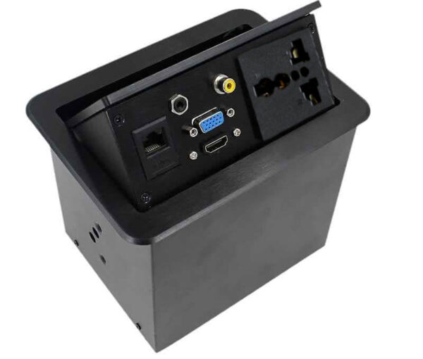 Gas Popup Panel / Popup Desk with 2pin Electrical Plug and HDMI, VGA, Audio, Composite & RJ45 Networking