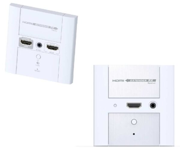 1x2 HDMI Wallplate Extender and Splitter over single CAT6/CAT7 with IR Remote Control up to 50 Meter