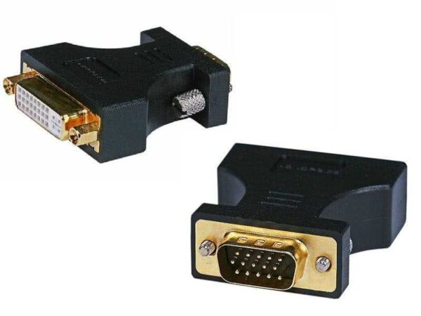 Female Dual Link DVI-A (DVI-I Port) to VGA-HD15 Male Adapter (Gold Plated)