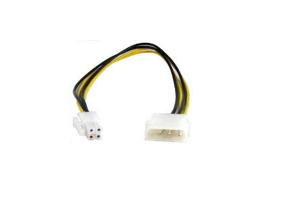 Male Molex to 4-pin PC Power Converter Cable (Used on older power supplies to newer Motherboards)