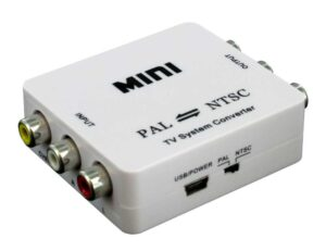 PAL to NTSC or NTSC to PAL Powered Converter - Composite / Yellow RCA video & Stereo audio