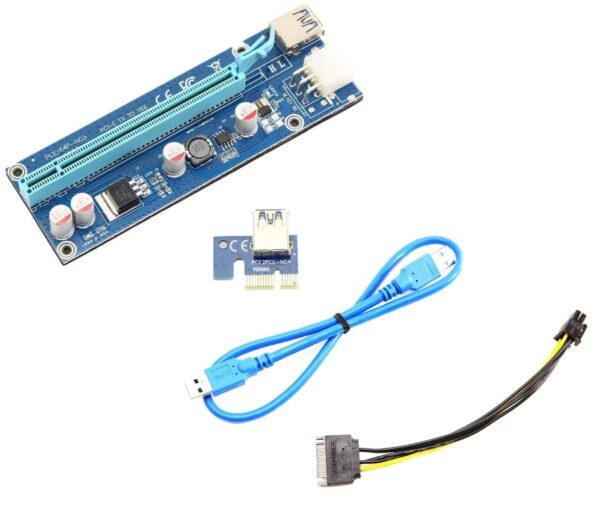 PCIe Riser Card Adapter v009s with Capacitor / Voltage Regulator | PCIe 1x to 16x Port Adapter for Mining