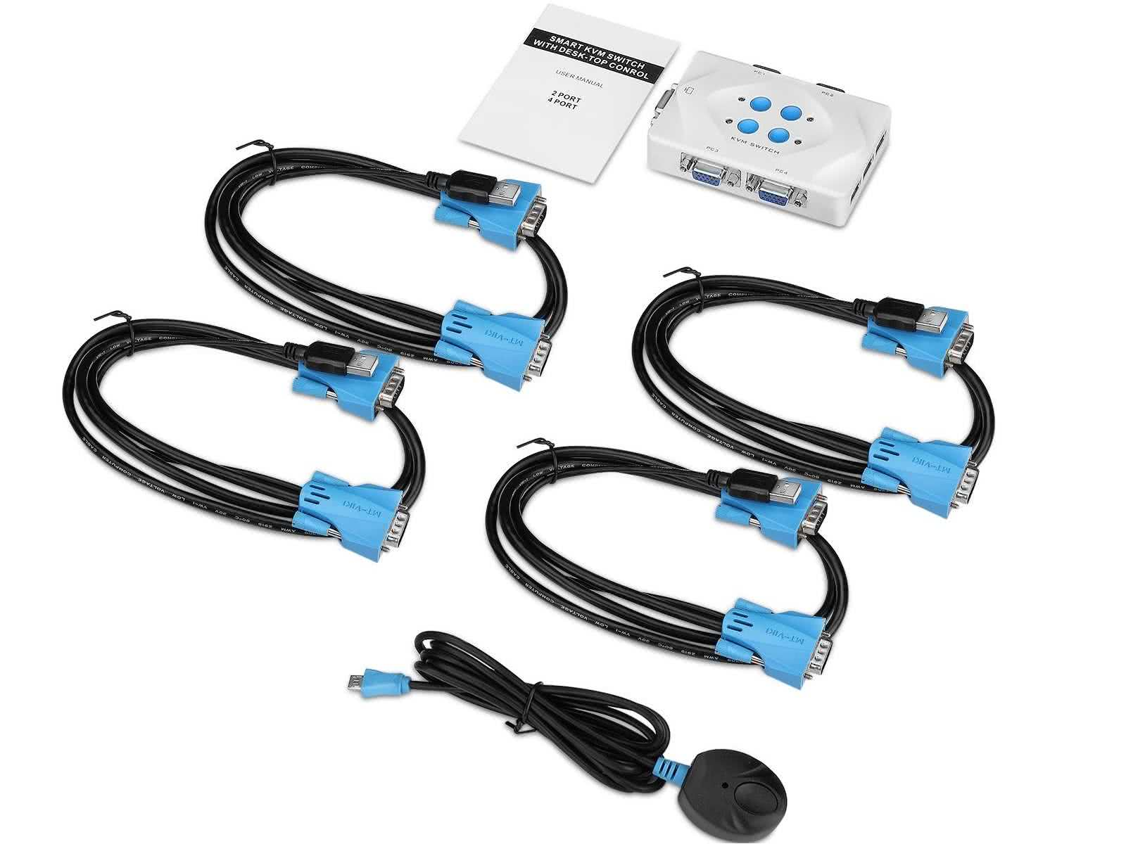 4-Port USB VGA KVM Switch INCLUDING 4 x USB / VGA KVM Cables (Switch 1 PC/Laptop Screen/Keyboard/Mouse between 4 Displays)