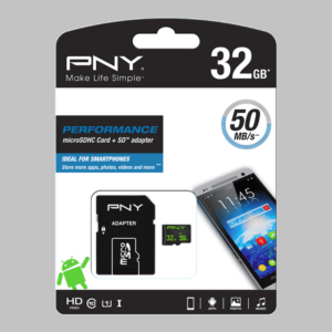 PNY 32GB High Speed Micro SD Card (High Capacity) – Class 10 with SDCard Adapter