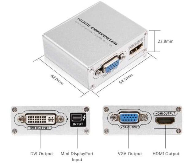 Active / Powered mini Displayport to HDMI+VGA+DVI Converter
