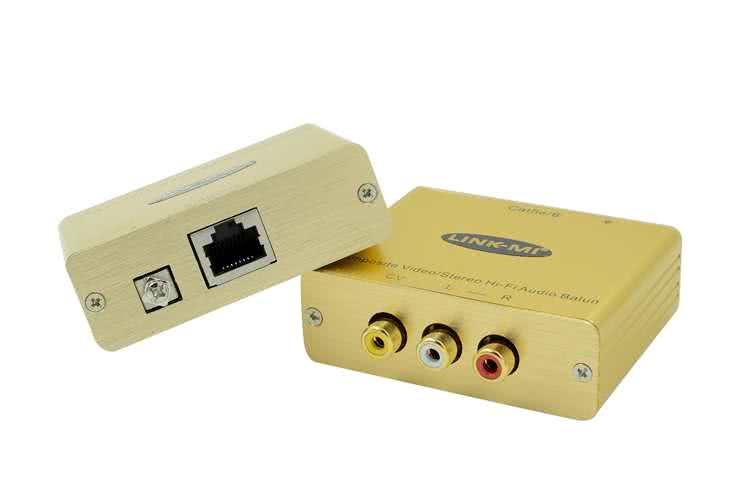 Composite / RCA(Yellow White Red) Balun / AV Extender up to 305 Meter