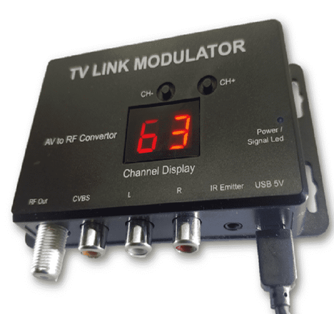 RF-TV Link Modulator - AV to RF Convertor with IR Extender (Control DSTV / Multichoice Decoder HD Model 5S and other's without RF Out connector from remote room over coaxial cable)
