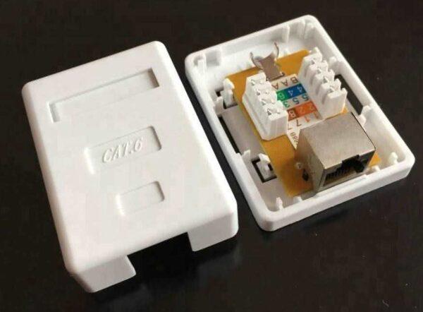 CAT6 Shielded Single RJ45 Surface Mount Box / Krone Type Wallbox