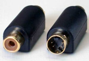 Female RCA to S-Video Male Adapter (Bi-Directional, 4-pin type Svideo, VHS) - Gold Plated