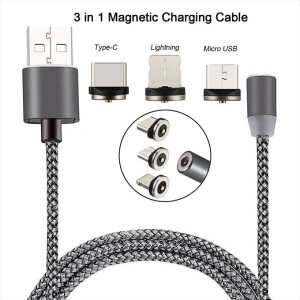 1 Meter Magnetic Charging Cable for Micro USB / Apple Lightning & USB Type C Connector Smartphones or Tablets