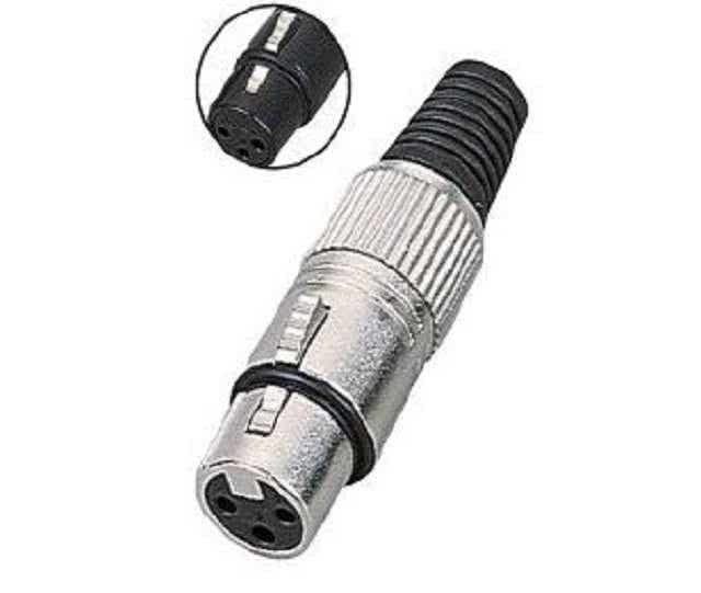 Solder-on Connector - XLR FeMale 3 Pin Metal with Black Sleeve