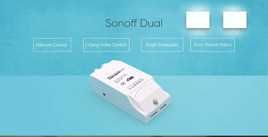 Sonoff DUAL Wireless Programmable Wifi Smart Switch 220v / 16 Amp Dual Max,  10 Amp Single - On/Off / Timer / Scheduled Home Automation