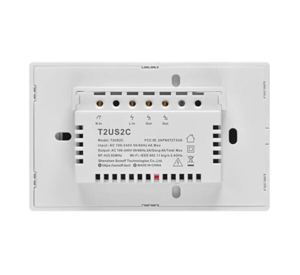 4×2 Size Dual Channel | 2 Button Wireless Light Switch | ITEAD | Sonoff T2US2C