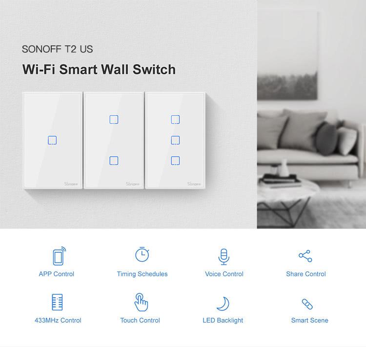 4x2 Size Triple Channel | 3 Button | Wifi Light Switch | Sonoff T2US3C | ITead
